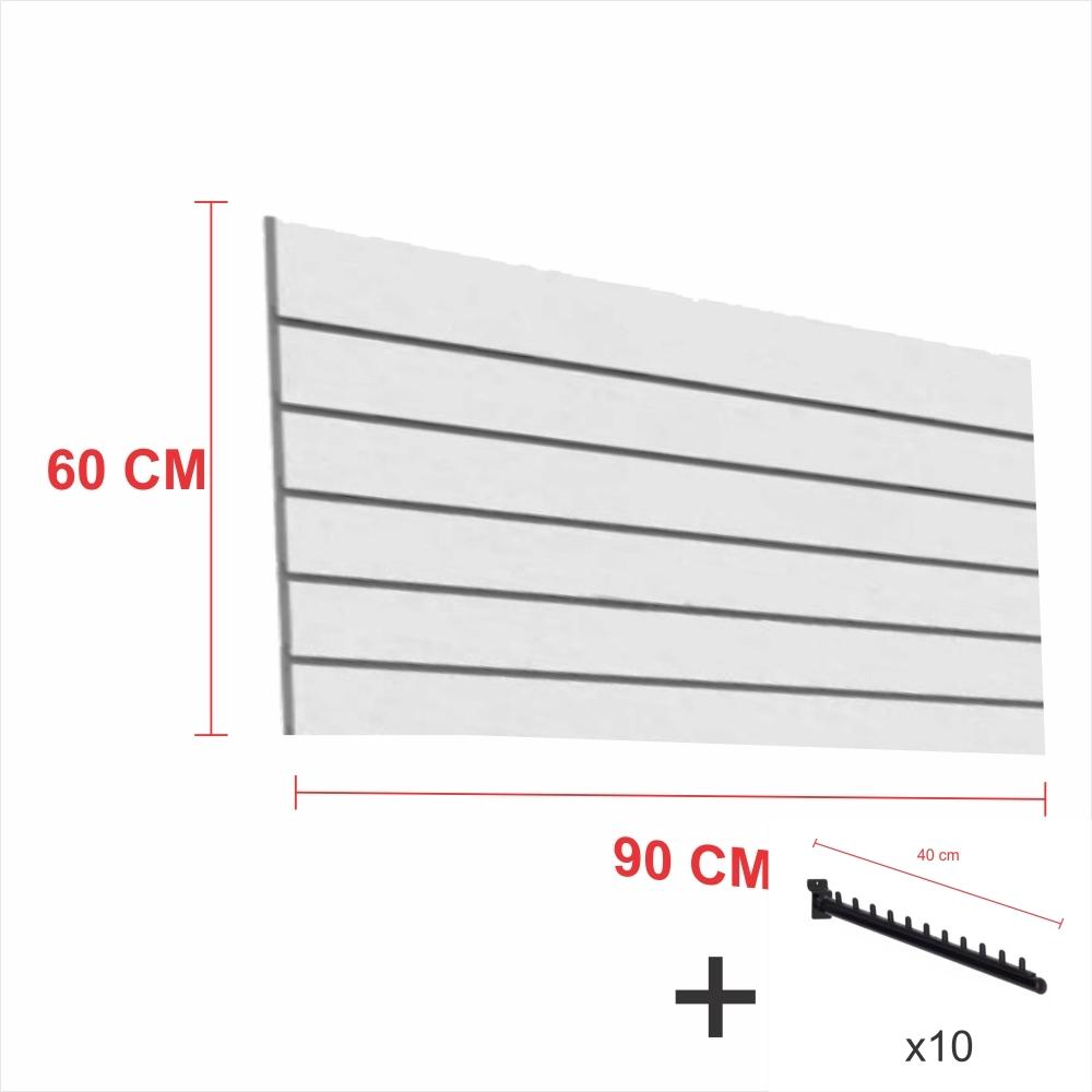 Kit Painel canaletado cinza alt 60 cm comp 90 cm mais 10 ganchos rt 40 cm para roupas