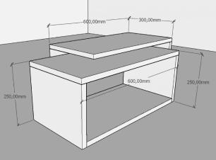 Mesa de centro moderna amadeirado escuro com preto