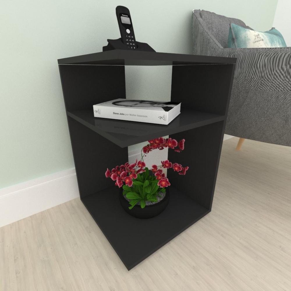 Kit com 2 Criado mudo, mesa de cabeceira, em mdf preto
