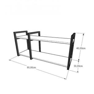 Mini estante industrial para escritório aço cor preto mdf 30cm cor amadeirado escuro mod ind19aeep