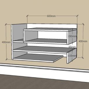 Aparador pequeno com nichos prateleiras em mdf Cinza