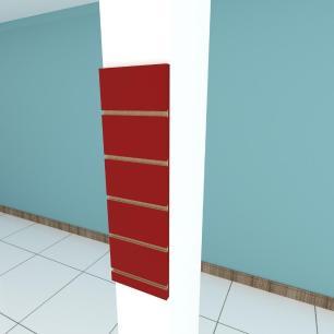 Painel canaletado para pilar vermelho escuro 1 peça 20(L)x60(A)cm
