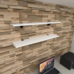 Kit 2 prateleiras para escritório em MDF suporte tucano branco 90x20cm modelo pratesb08