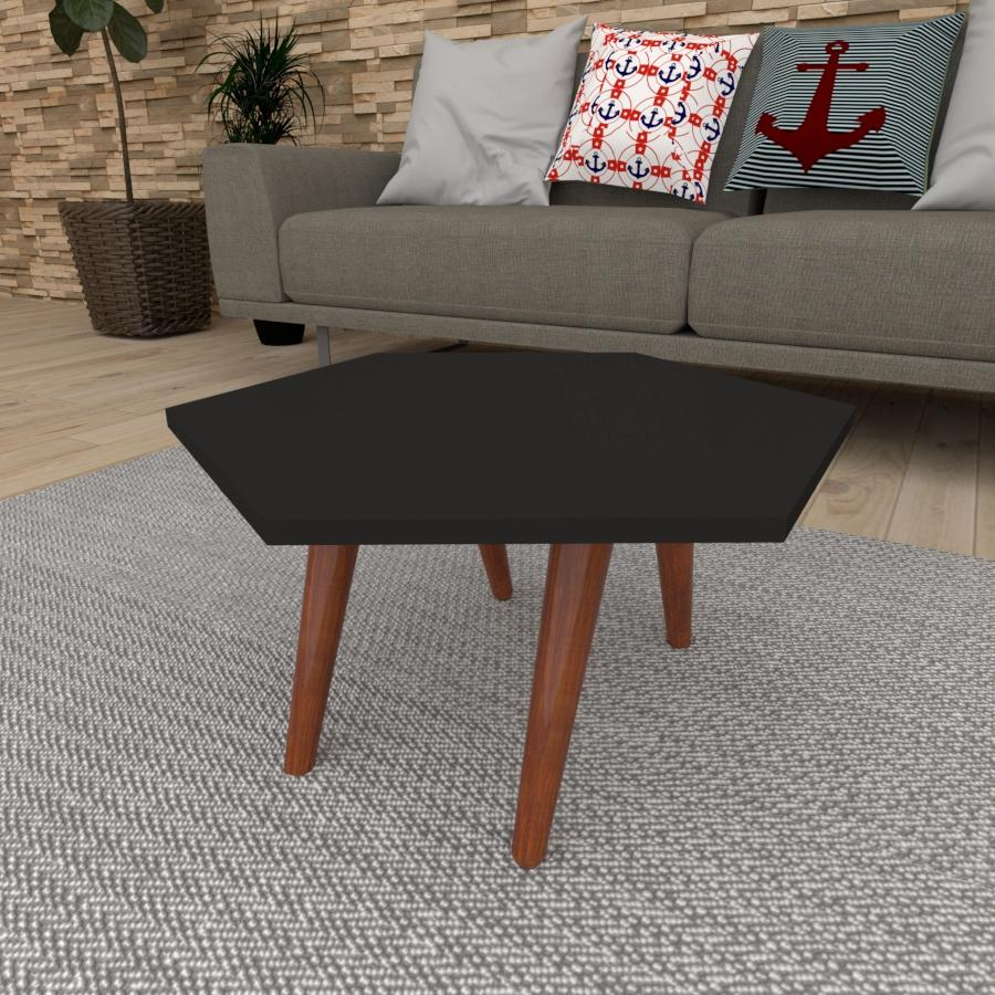 Mesa de Centro hexagonal em mdf preto com 4 pés inclinados em madeira maciça cor mogno
