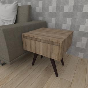 Mesa lateral com gaveta em mdf amadeirado escuro com 4 pés inclinados em madeira maciça cor tabaco