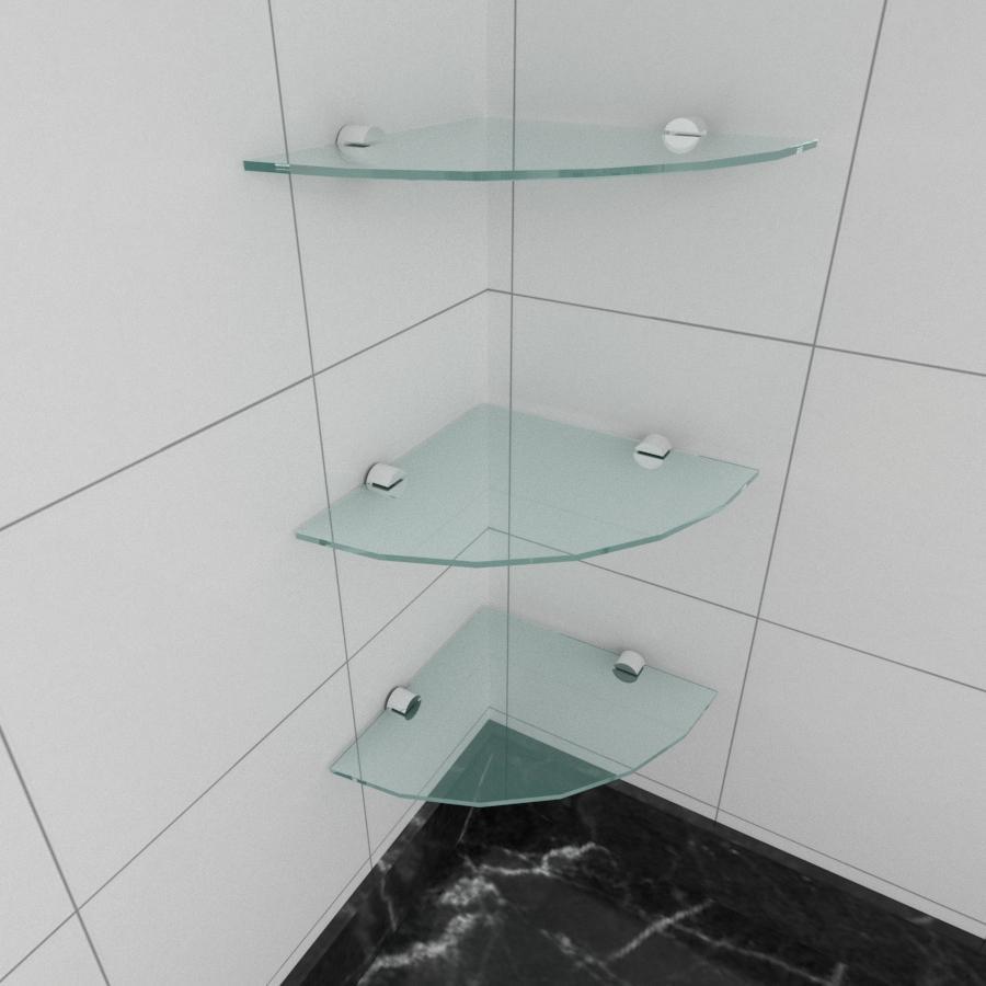 kit com 3 Prateleira para canto de vidro temperado para cozinha profundidade 20 cm