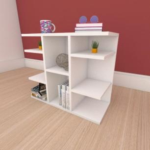 Mesa de cabeceira slim com divisor em mdf branco