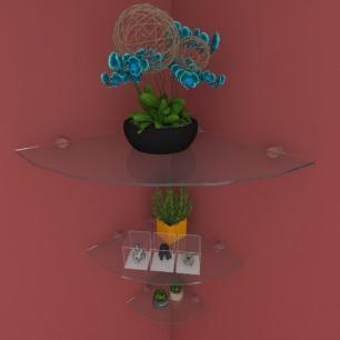 Kit com tres Prateleira para sala de canto 40 30 e 20 cm vidro temperado