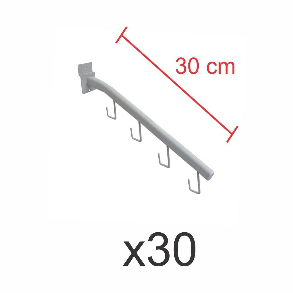 kit para expositor com 30 ganchos rt para bolsas e cintos branco de 30 cm para painel canaletado