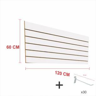 Expositor canaletado branco alt 60 cm comp 120 cm mais 30 ganchos 10 cm
