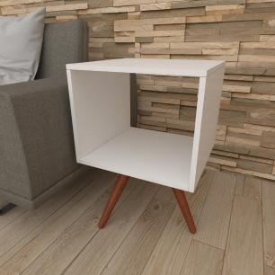 Mesa lateral nicho em mdf branco com 3 pés inclinados em madeira maciça cor mogno