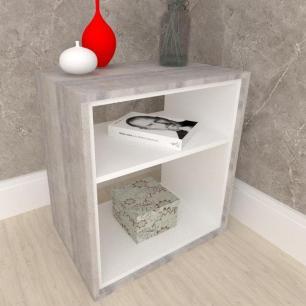 Mesa lateral mesa de canto em mdf cor Rustico com branco
