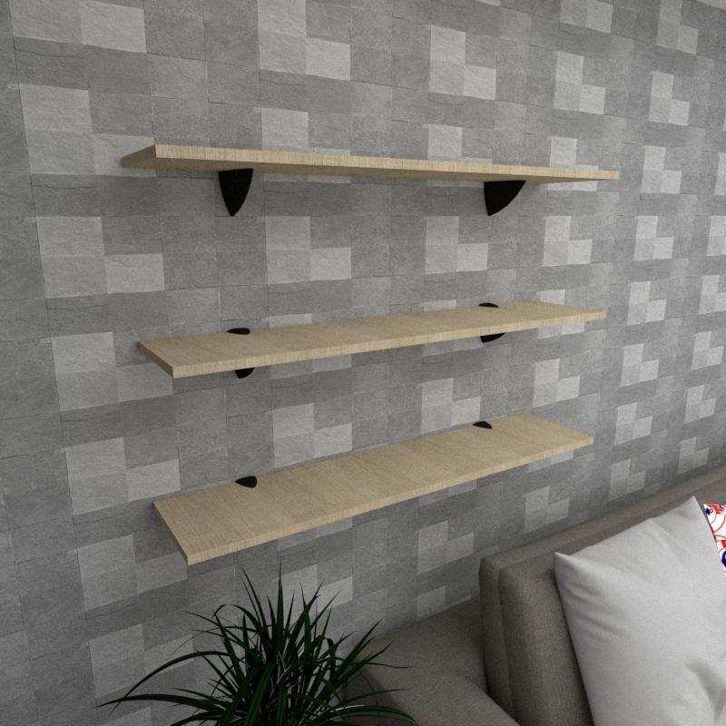 Kit 3 prateleiras para sala em MDF suporte tucano amadeirado claro 90x20cm modelo pratslamc09