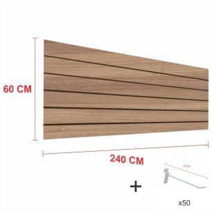 Painel com ganchos amadeirado alt 60 cm comp 240 cm mais 50 ganchos 20 cm