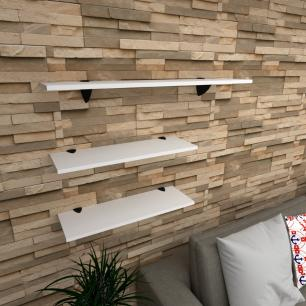 Kit 3 prateleiras sala em MDF suporte tucano branco 2 60x20cm 1 90x20cm modelo pratslb18