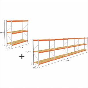 kit 5 Mini Porta Pallet 2 Inicial + 3 cont 250KG Com 3 niveis 2,00X1,80X0,60 com band. em MDF CRU