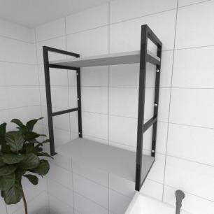Prateleira industrial para lavanderia aço cor preto prateleiras 30 cm cor cinza modelo ind10clav