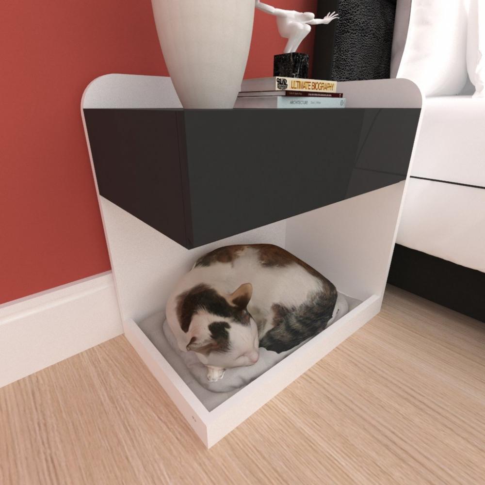 Casinha caminha criado mudo gato gaveta mdf cor branco preto