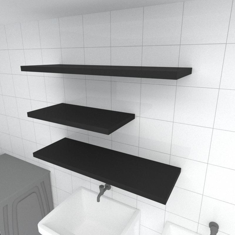 Kit 3 prateleiras lavanderia em MDF sup. Inivisivel preto 1 60x30cm 2 90x30cm modelo pratlvp31