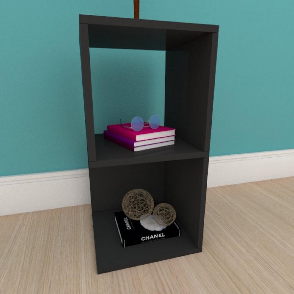 Kit com 2 Mesa de cabeceira simples nicho em mdf preto