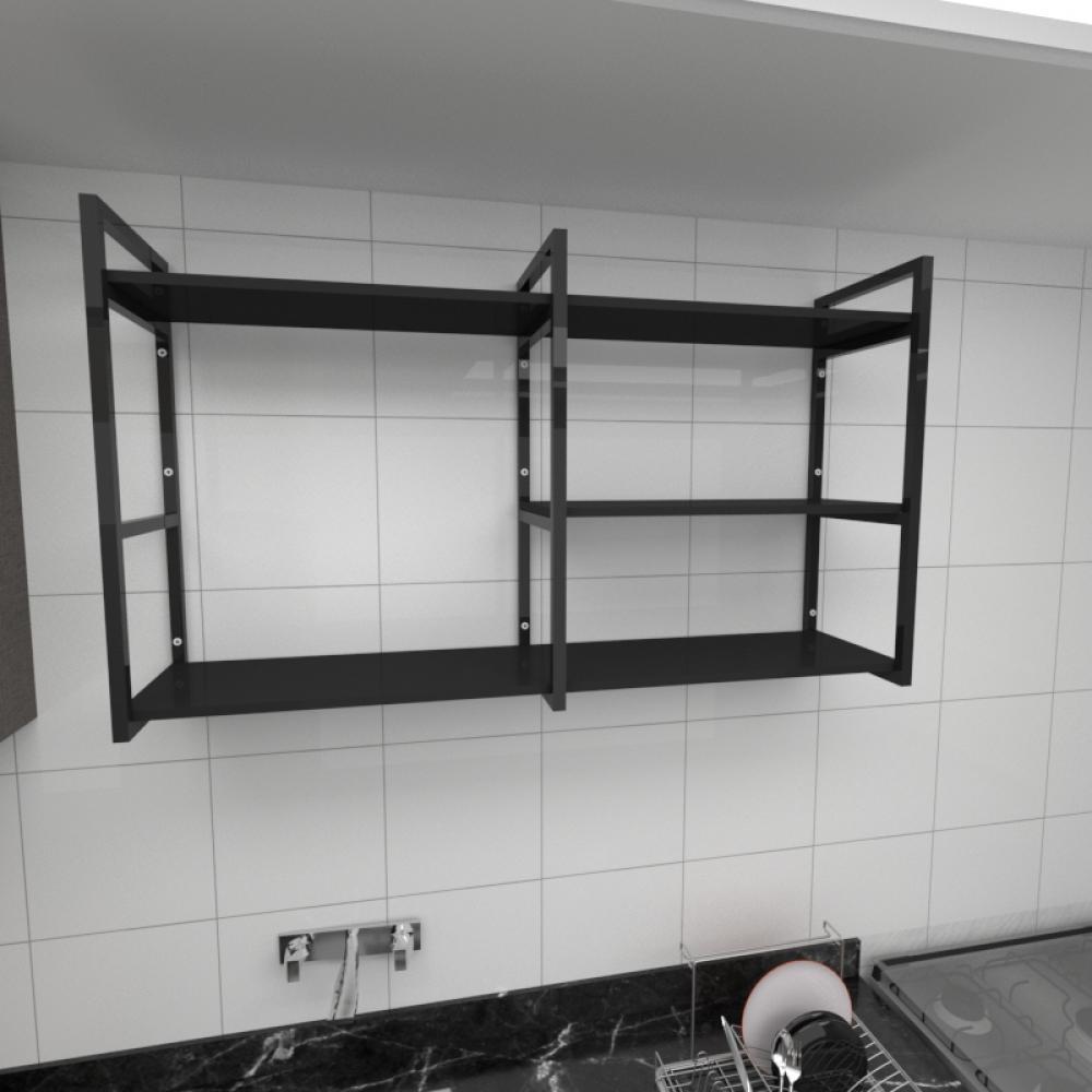 Prateleira industrial para cozinha aço cor preto prateleiras 30cm cor preto modelo ind14pc
