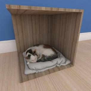 Mesa de cabeceira caminha bercinho pequeno gato em mdf amadeirado