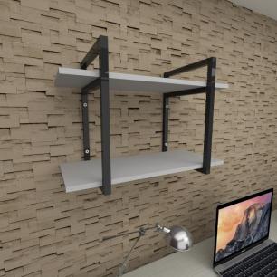Prateleira industrial para escritório aço cor preto prateleiras 30 cm cor cinza modelo ind02ces