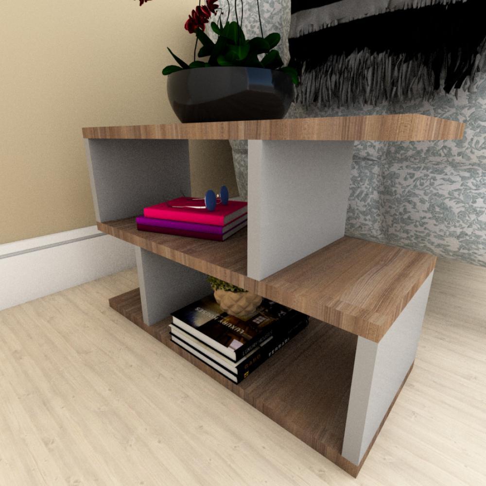 Mesa Lateral Sofá moderna amadeirado escuro com cinza