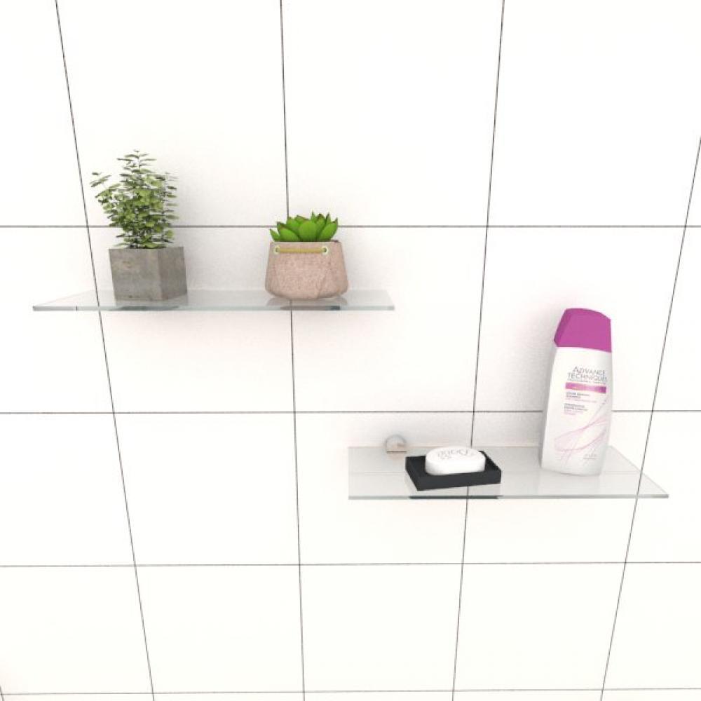 Kit com duas Prateleira para banheiro 30 cm vidro temperado