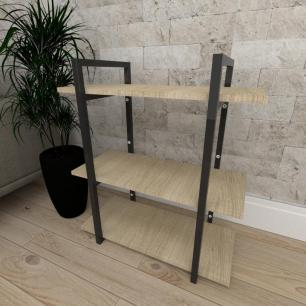 Mini estante industrial para escritório aço cor preto mdf 30cm cor amadeirado claro modelo ind09acep