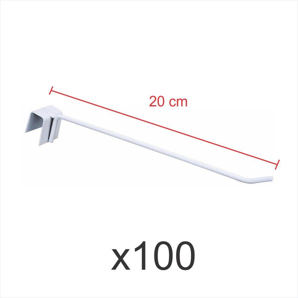 kit para expositor 100 ganchos 4mm branco de 20 cm para gondola para porta gancheira 20x20 e 20x40