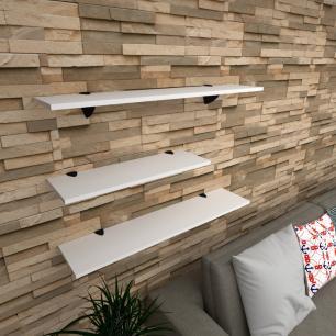 Kit 3 prateleiras sala em MDF suporte tucano branco 1 60x20cm 2 90x20cm modelo pratslb16
