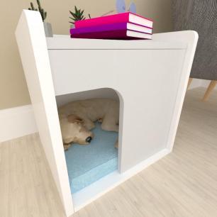 Casinha criado mudo para cachorro mdf branco com cinza