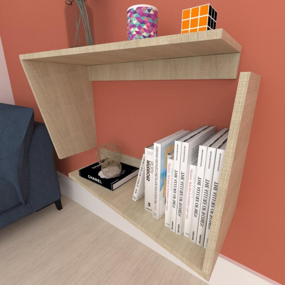 Mesa lateral, suspenso, em mdf Amadeirado claro