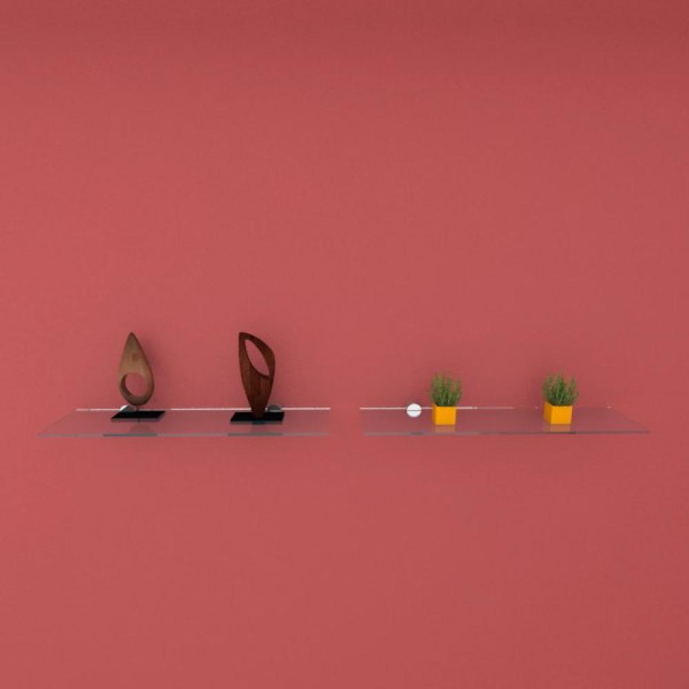 Kit com duas Prateleira para sala 40 cm vidro temperado