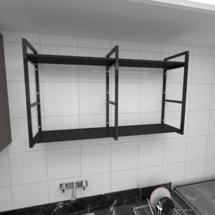 Prateleira industrial para cozinha aço cor preto prateleiras 30cm cor preto modelo ind13pc