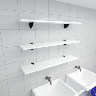Kit 3 prateleiras para lavanderia em MDF suporte tucano branco 90x20cm modelo pratlvb09