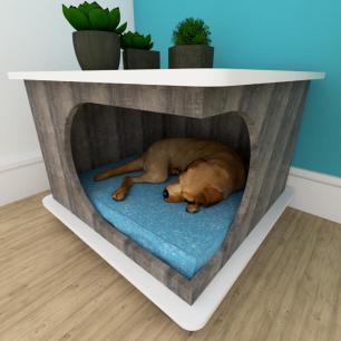 Mesa de cabeceira caminha cão gaveta mdf Rustico branco