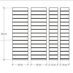Kit 4 Painel canaletado para pilar amadeirado escuro 2 peças 54(L)x180(A)cm + 2 peças 30(L)x180(A)cm