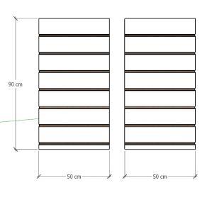 Kit 2 Painel canaletado para pilar amadeirado claro 2 peças 50(L)x90(A)cm