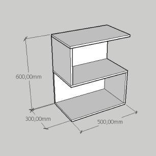 Mesa Lateral compacta em formato de S em mdf amadeirado