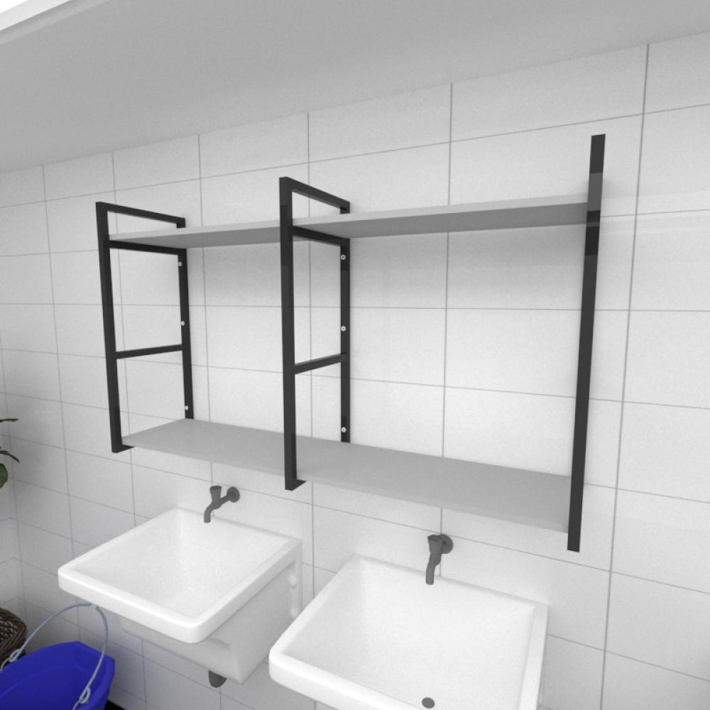 Prateleira industrial para lavanderia aço cor preto prateleiras 30cm cor cinza modelo ind13clav