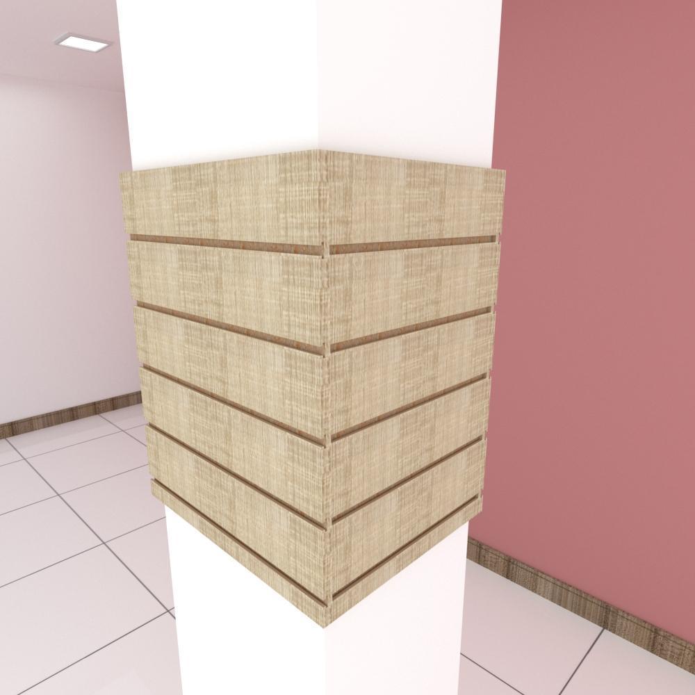 Kit 4 Painel canaletado para pilar amadeirado claro 2 peças 54(L)x60(A) cm + 2 peças 40(L)x60(A) cm