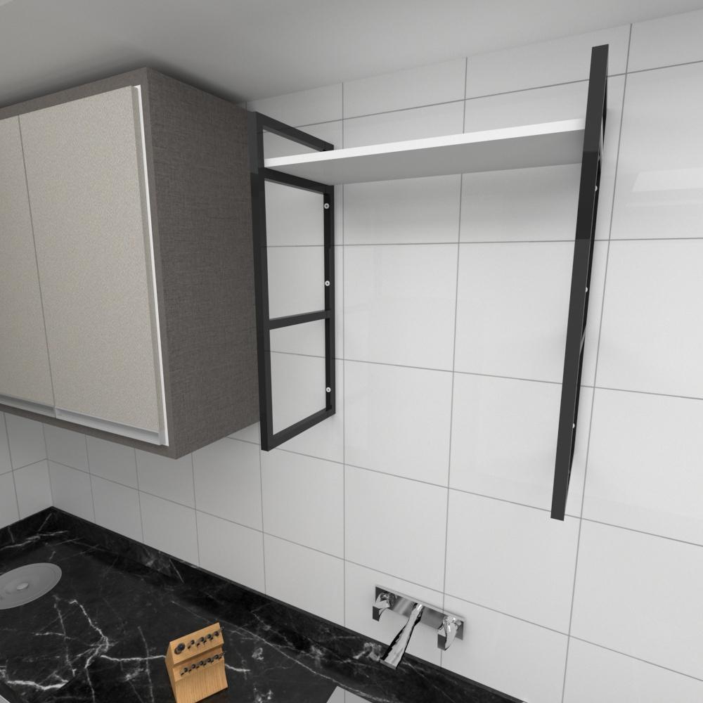 Prateleira industrial para cozinha aço cor preto prateleiras 30 cm cor branca modelo ind15bc