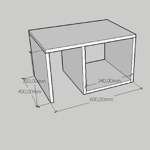 Mesa de centro moderna compacta com nichos em mdf amadeirado