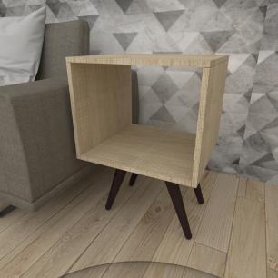 Mesa lateral nicho em mdf amadeirado claro com 4 pés inclinados em madeira maciça cor tabaco