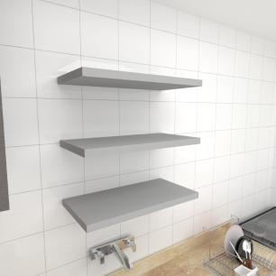 Kit 3 prateleiras para cozinha em MDF suporte Inivisivel cinza 60x30cm modelo pratcc24