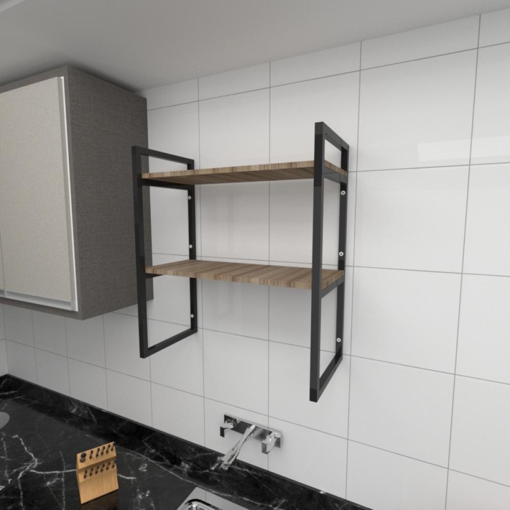 Prateleira industrial cozinha aço cor preto prateleiras 30cm cor amadeirado escuro mod ind08aec
