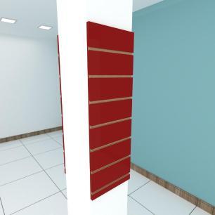 Kit 2 Painel canaletado para pilar vermelho escuro 2 peças 30(L)x90(A)cm
