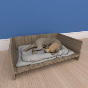 Mesa de cabeceira caminha pequeno cachorro em mdf amadeirado